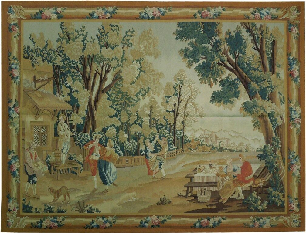 8′W x 6′1″H Garden Feast Hand-woven French Aubusson Tapestry 12980922