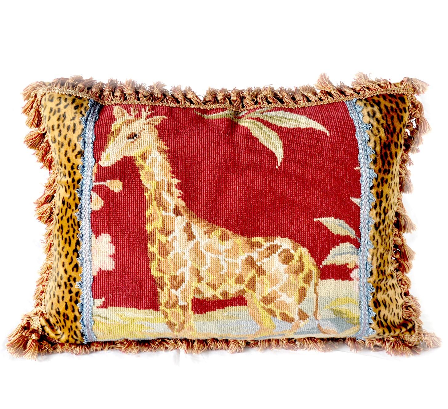 17″x23″ Needlepoint Giraffe Pillow Cover 12980976
