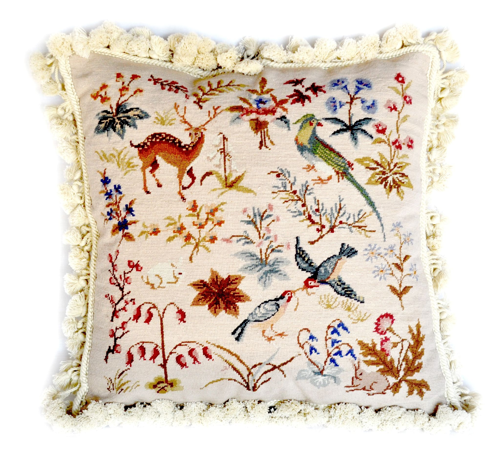 18×18 Bird Parrot Deer Bunny Wool Needlepoint Petitpoint Cushion Cover Pillow Case 12980981