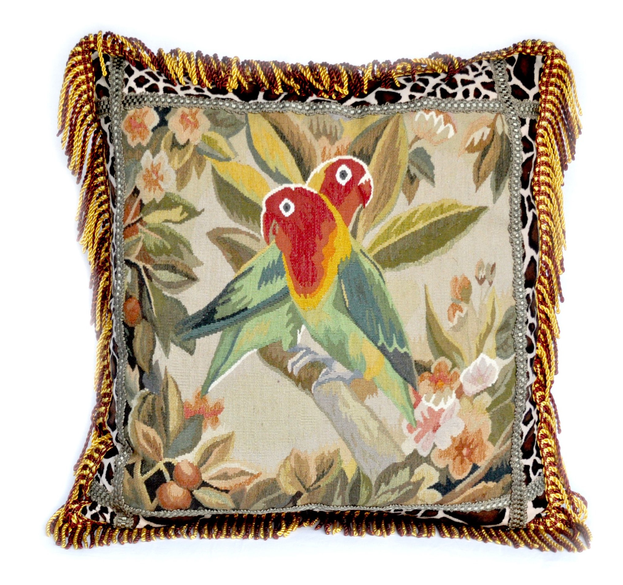 22″x22″ Parrot Aubusson Pillow Cover 12980982