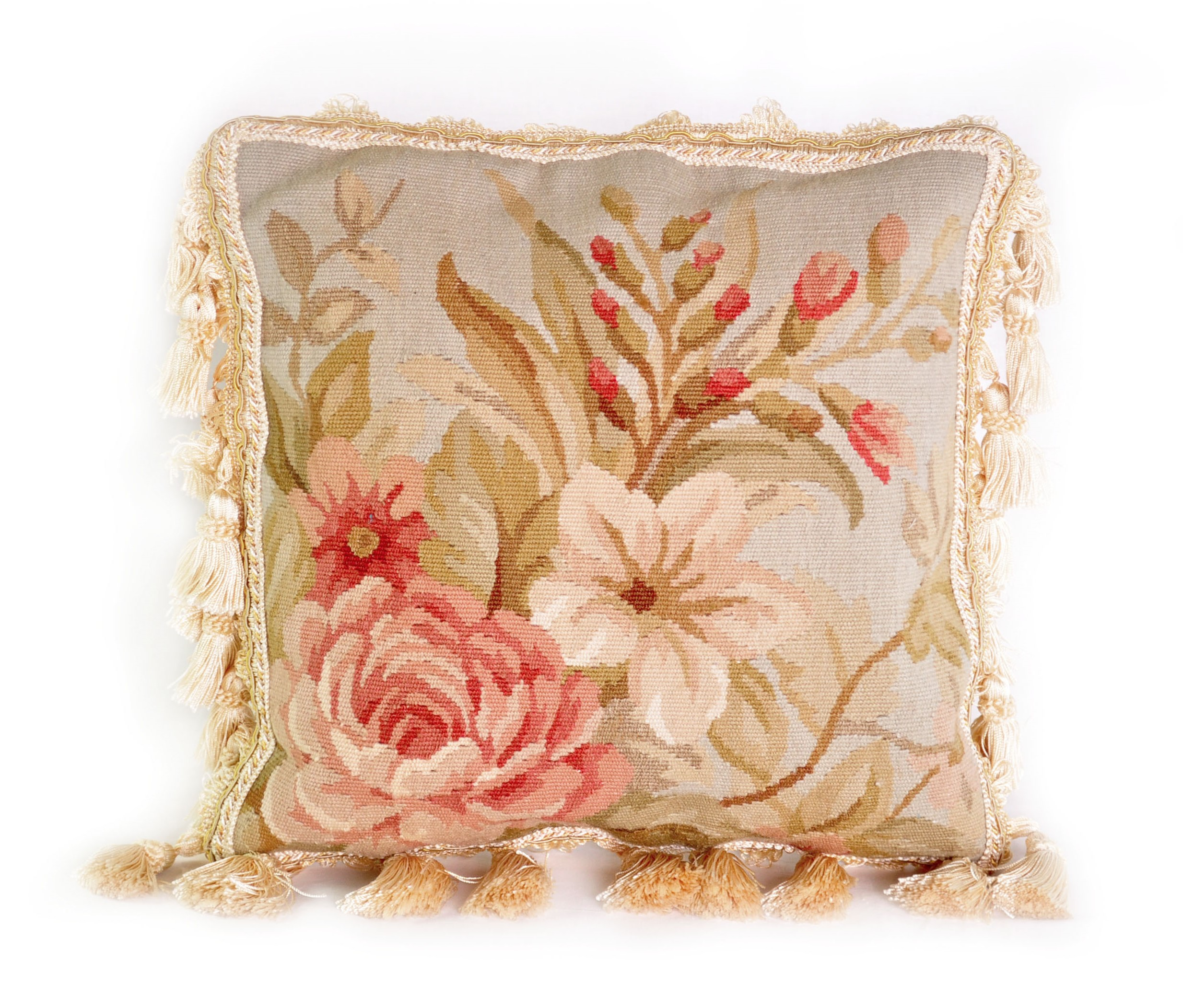 12″x12″ Hand-woven Aubusson Pillow Cover 12981001