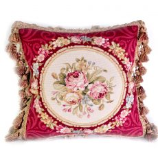 """16""""x16"""" Wool Needlepoint Rose Bouquet Red Cushion Cover Pillow Case 12981000"""