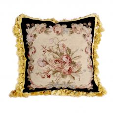 "18""x18"" Wool Needlepoint Rose Bouquet Black Cushion Cover Pillow Case 12980999"