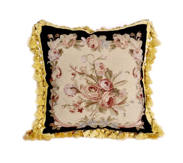 """18""""x18"""" Wool Needlepoint Rose Bouquet Black Cushion Cover Pillow Case 12980999"""