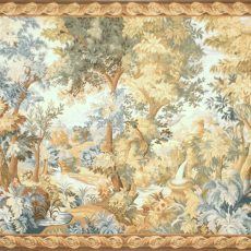 13′1″W x 6′6″H Hand-woven French Aubusson Tapestry Verdure Wall Hanging Rug 12981023