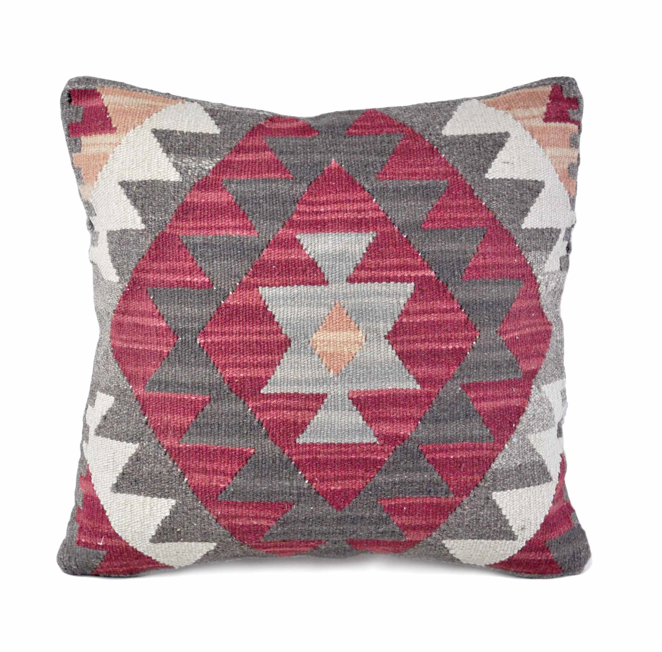 18×18 Hand-woven Wool Kilim Pillow Cover 12981033