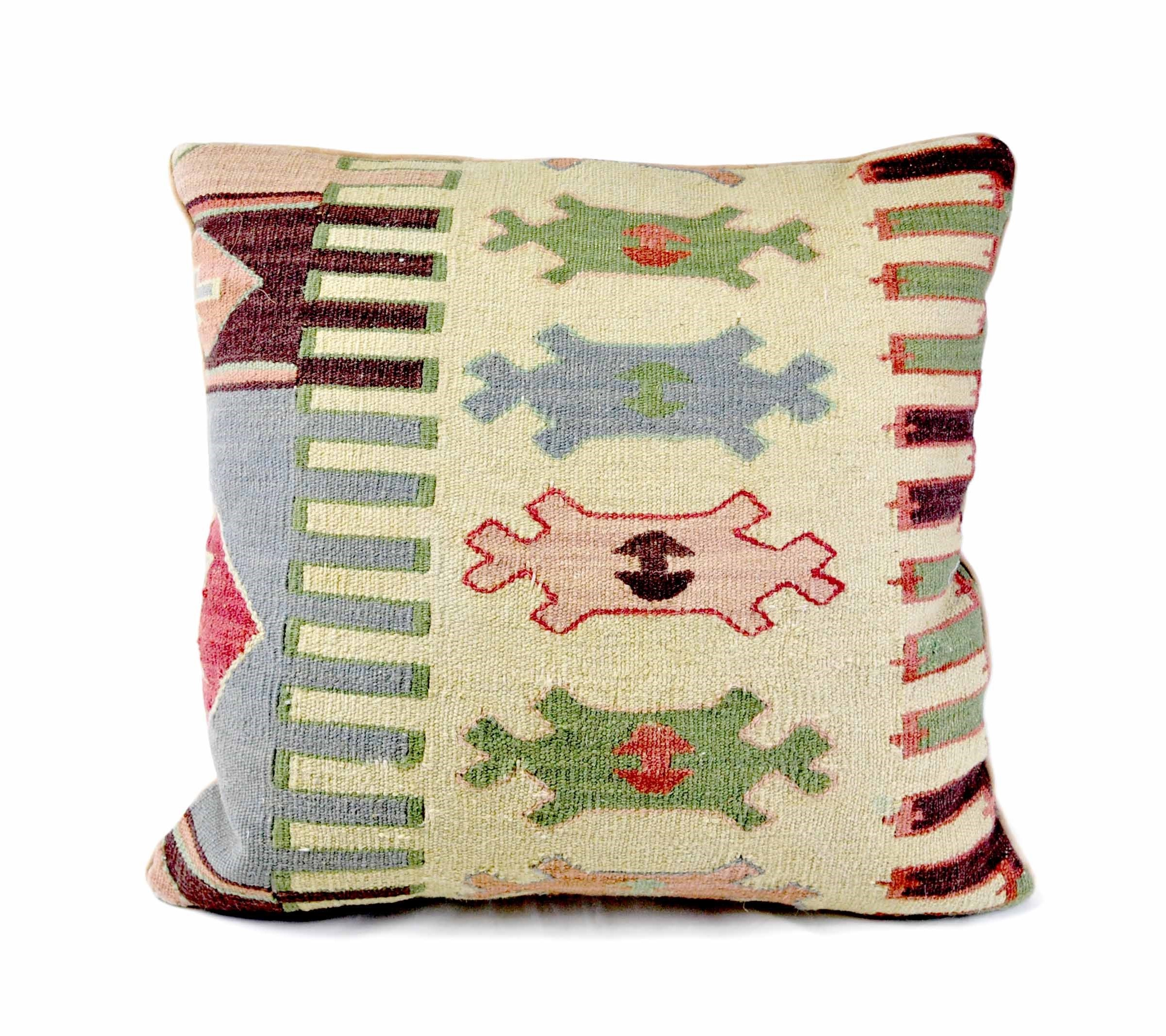 22×22 Hand-woven Wool Kilim Pillow Cover 12981034
