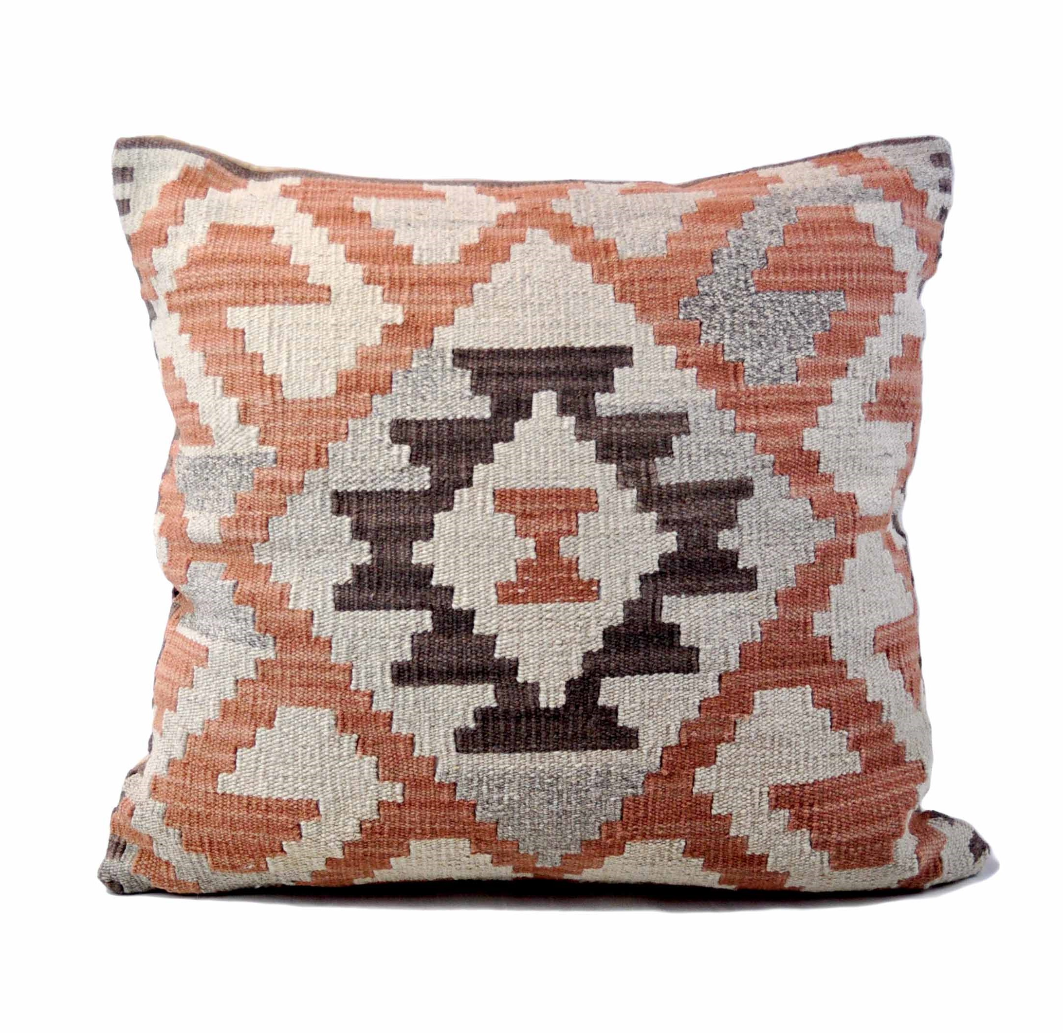 24×24 Hand-woven Wool Kilim Pillow Cover 12981031