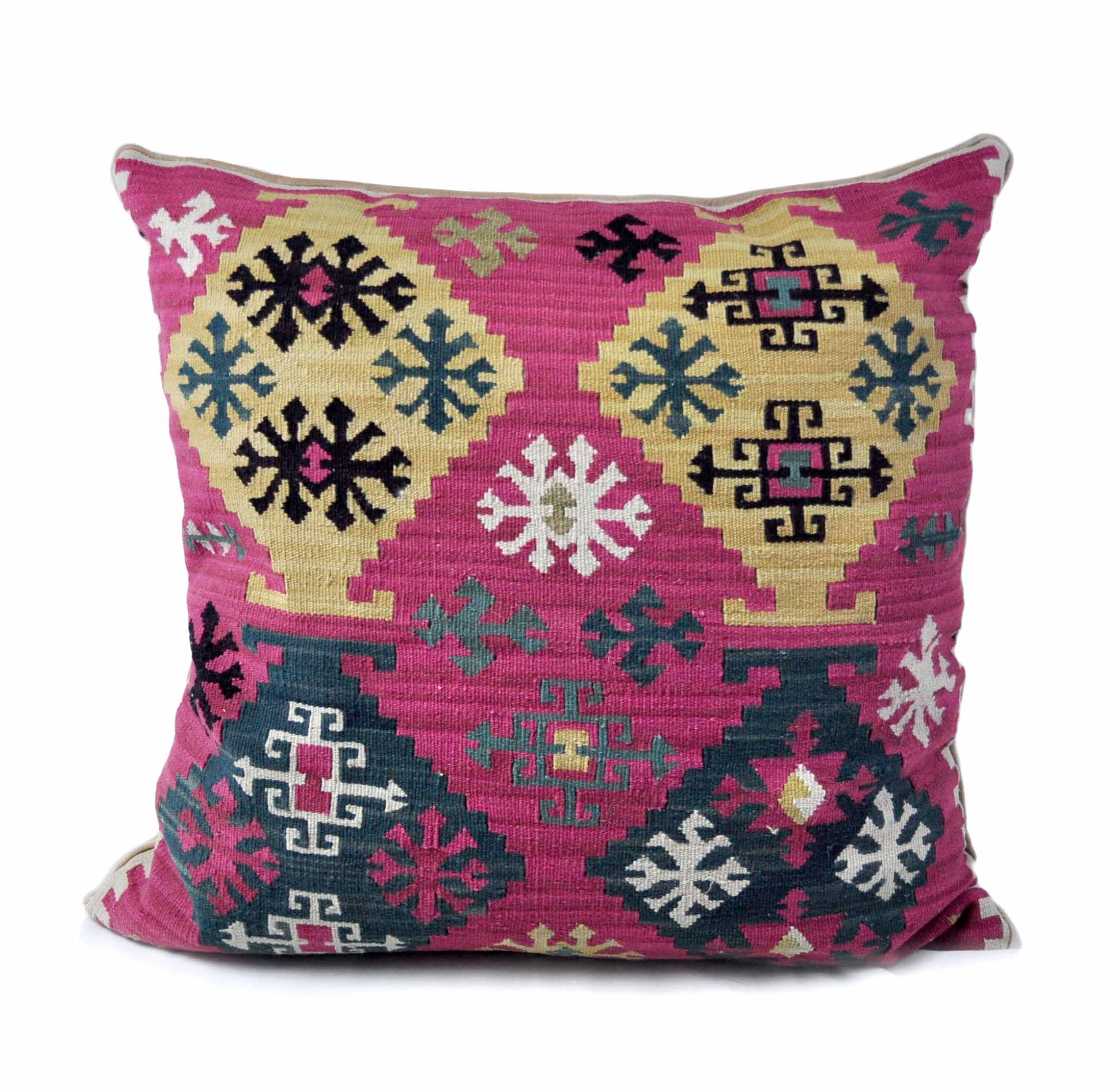 24″x24″ Hand-woven Wool Kilim Pillow Cover 12981036