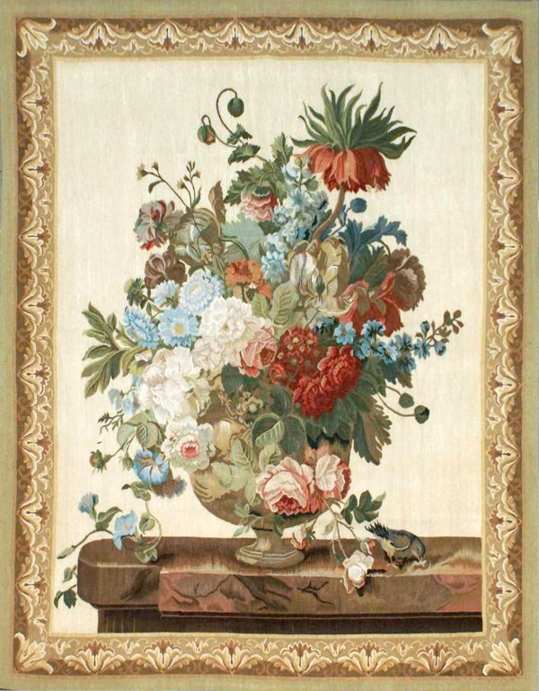 3′8″W x 4′9″H Hand-woven French Aubusson Tapestry Still Life Wall Hanging Rug 12981010