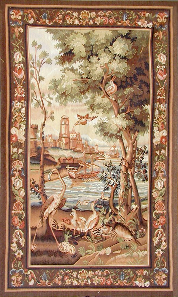3′W x 5′H Hand-woven French Aubusson Tapestry Verdure Wall Hanging Rug 12981014