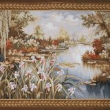 5′W x 3′10″H Hand-woven French Aubusson Tapestry Monet Pond Wall Hanging Rug 12981020
