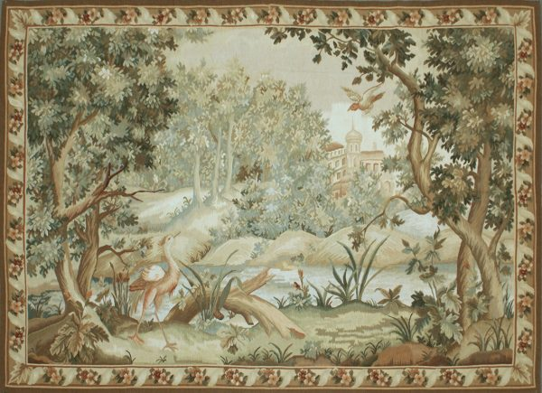 6′11″W x 5′H Hand-woven French Aubusson Tapestry Verdure Wall Hanging Rug 12981021