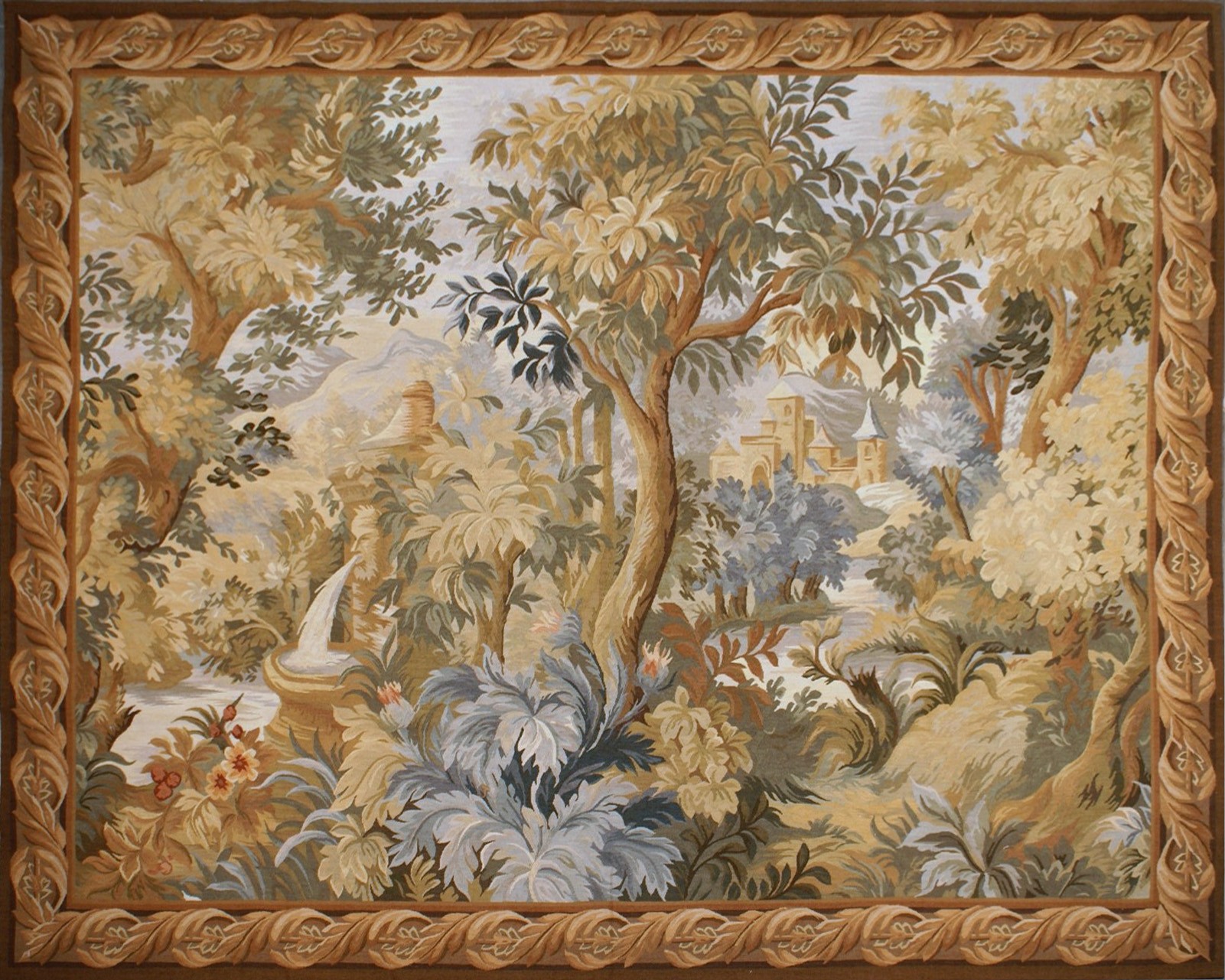 6′6″W x 5′3″H Hand-woven French Aubusson Tapestry Verdure Wall Hanging Rug 12981024