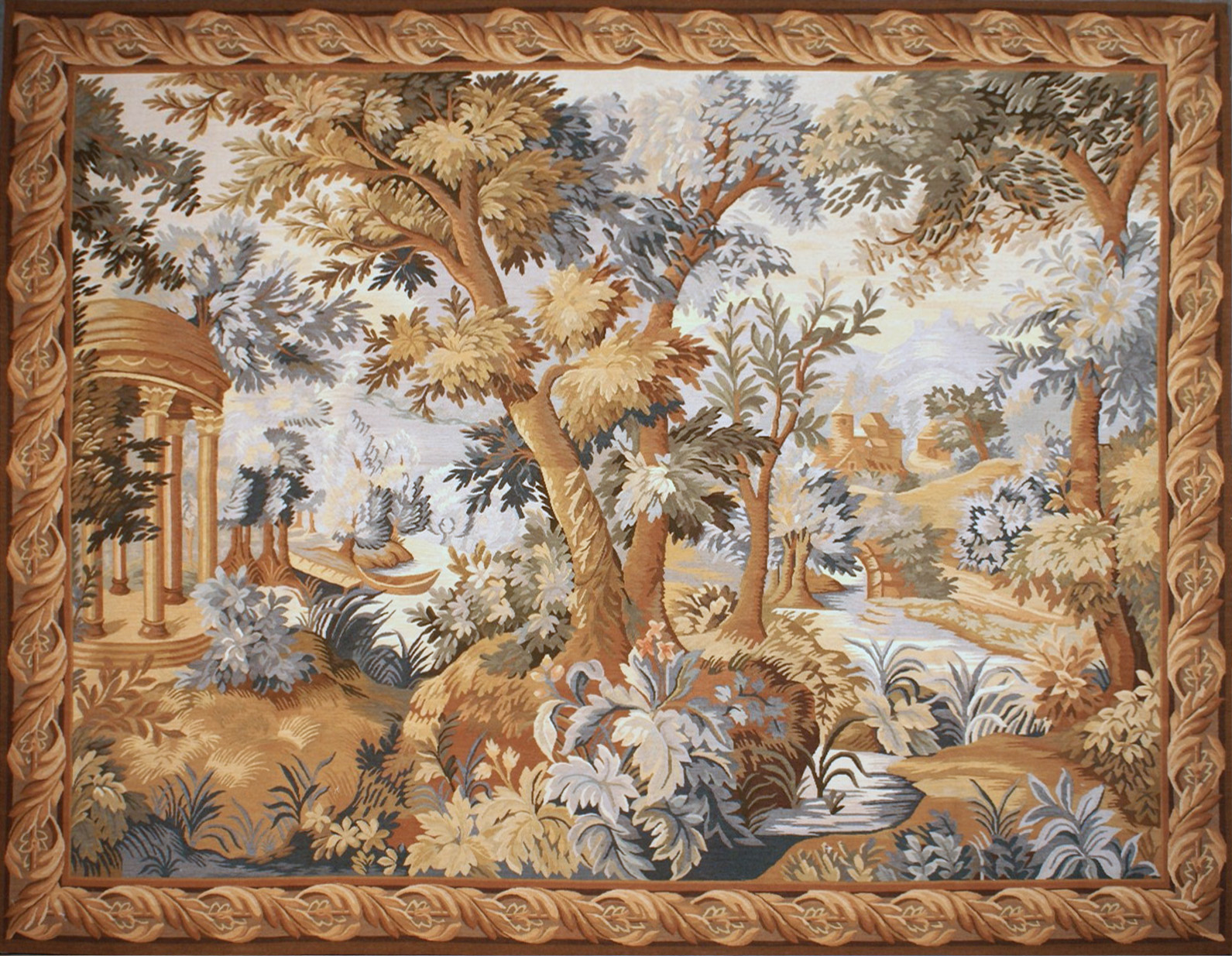 6′7″W x 5′3″H Hand-woven French Aubusson Tapestry Verdure Wall Hanging Rug 12981022
