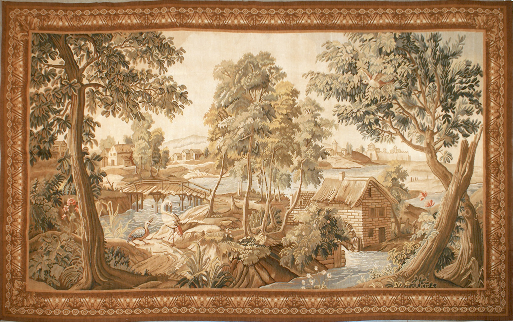 6′9″W x 4′3″H Hand-woven French Aubusson Tapestry Verdure Wall Hanging Rug 12981011