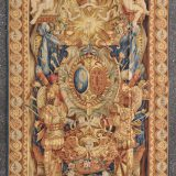 6′W x 9′H Handwoven Aubusson Tapestry Armorial Coat of Arms Wall Hanging Rug 12981016