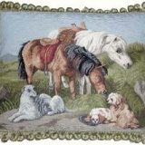 16x20 Handmade Wool Needlepoint Horses and Dogs Pillow 12981042