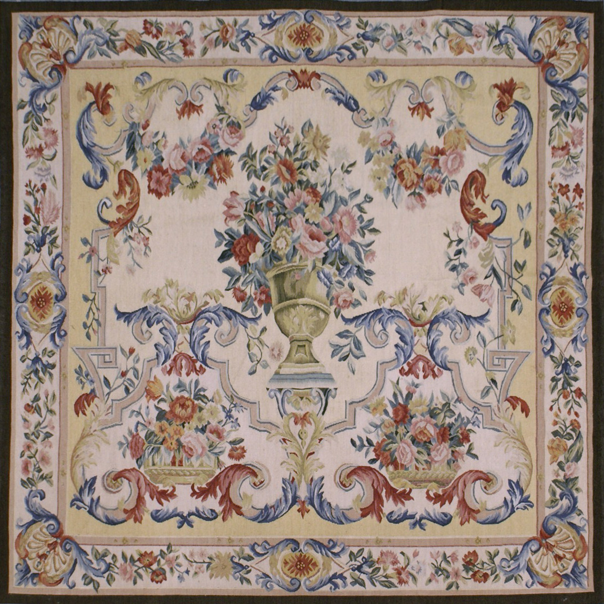 4′W x 4′H Hand-woven French Aubusson Tapestry Wall Hanging Rug 12981039