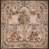 4′W x 4′H Hand-woven French Aubusson Tapestry Wall Hanging Rug 12981040