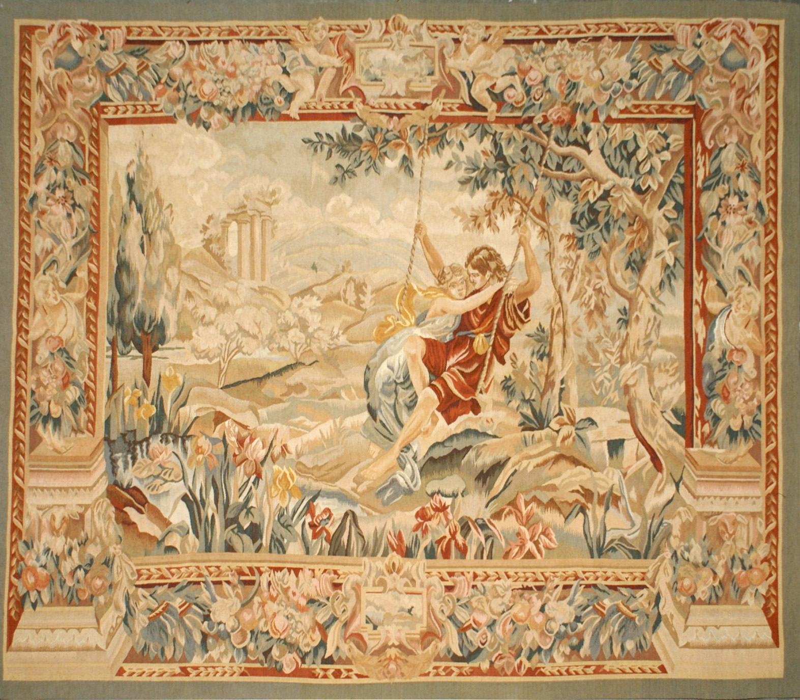 7′2″W x 6′3″H Hand-woven French Aubusson Tapestry Lovers on Swing Wall Hanging Rug 12981041