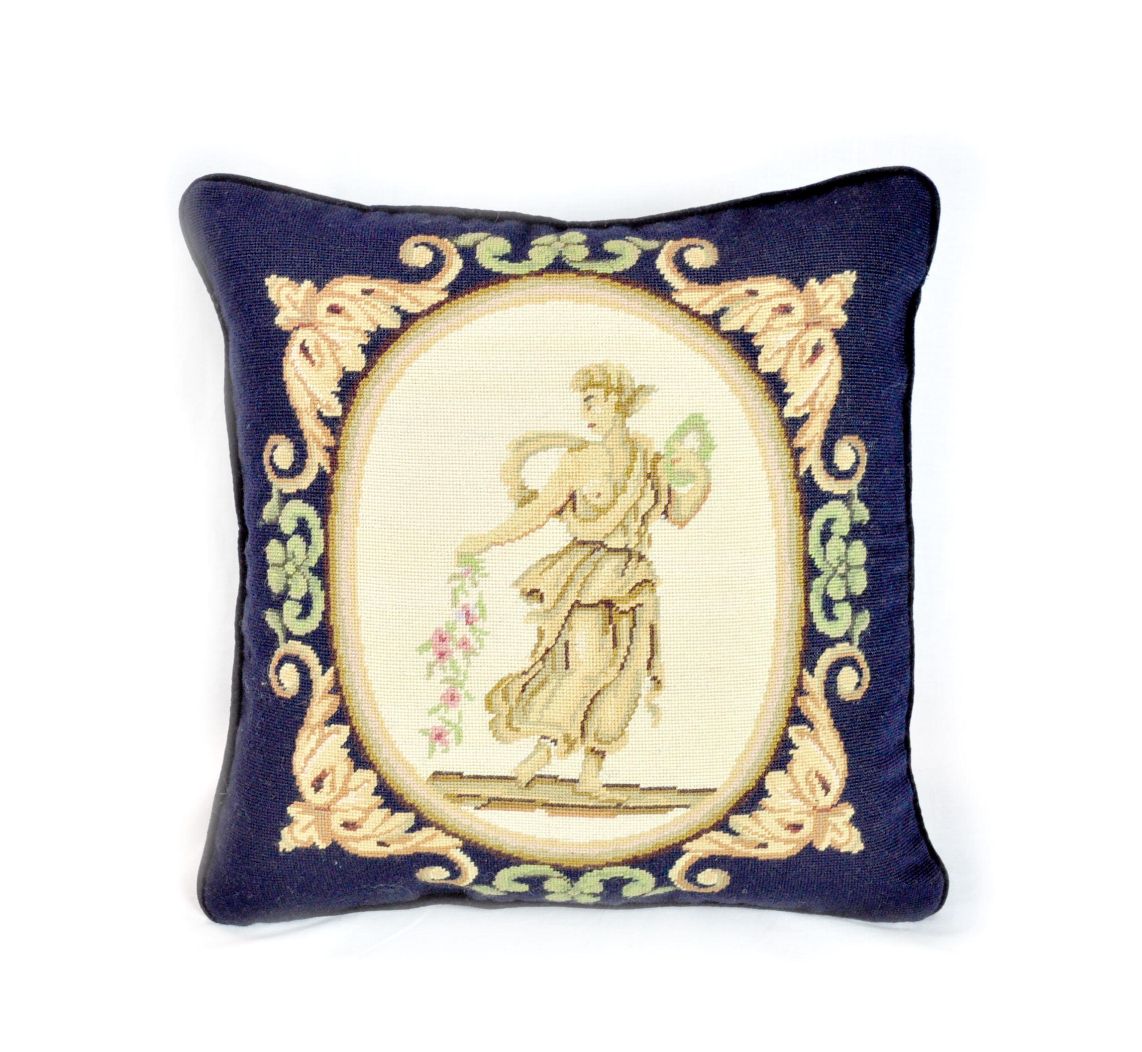 16″x16″ Wool Needlepoint Greek Goddess Navy Blue Cushion Cover Pillow Case 12981044