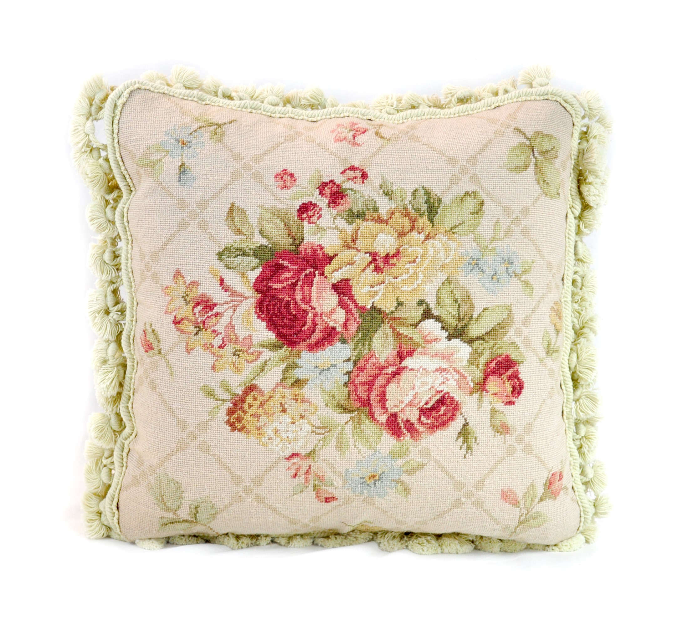16×16 Wool Needlepoint Rose Bouquet Cushion Cover Pillow Case 12981045