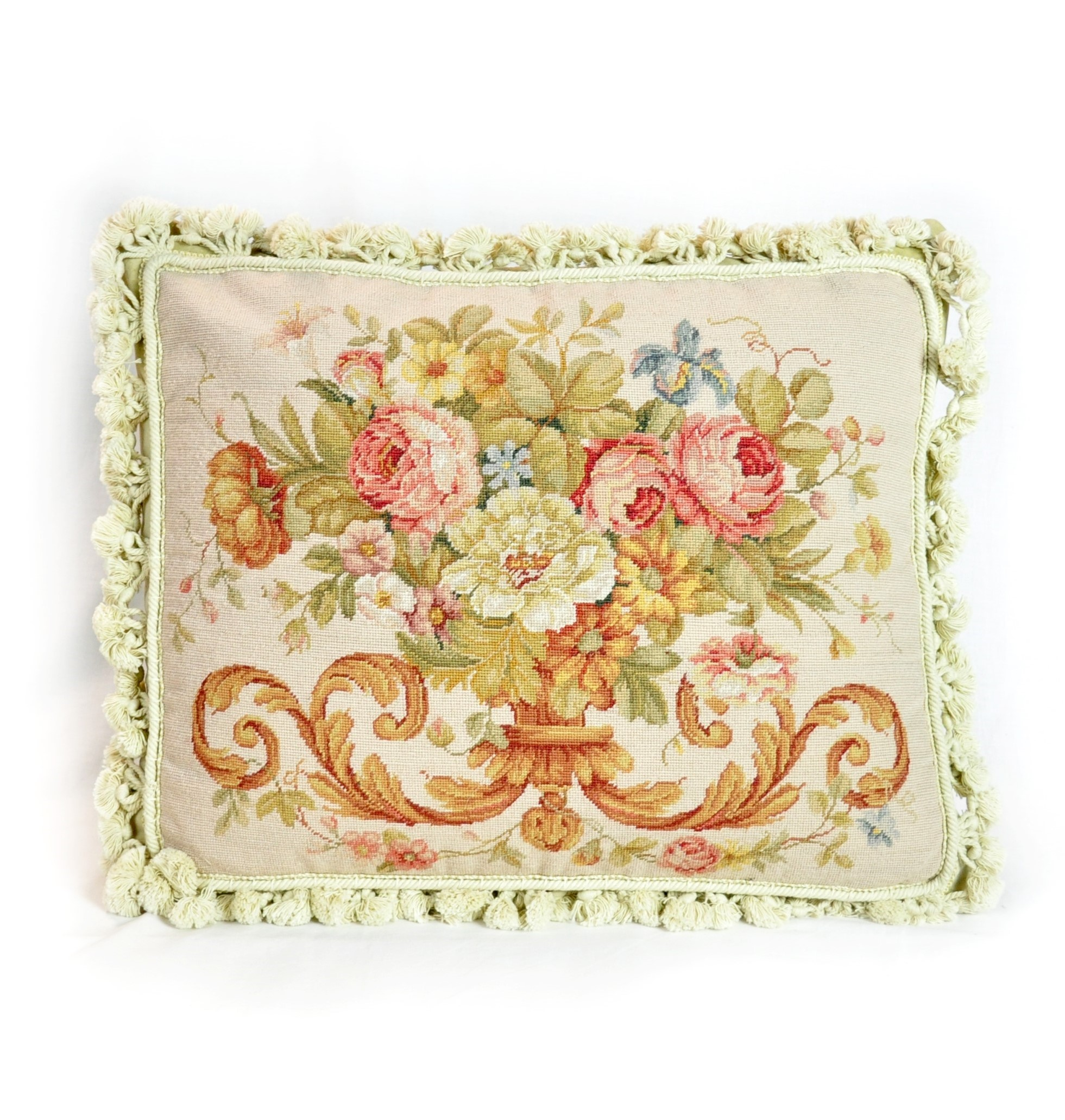 16″x20″ Wool Needlepoint Rose Bouquet Cushion Cover Pillow Case 12981046