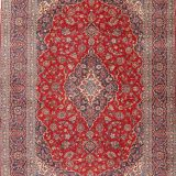 "8'6"" x 12'4"" Hand-knotted Semi-Antique Red/Navy Persian Kashan Oriental Rug 12981047"