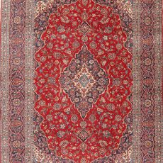 """8'6"""" x 12'4"""" Hand-knotted Semi-Antique Red/Navy Persian Kashan Oriental Rug 12981047"""