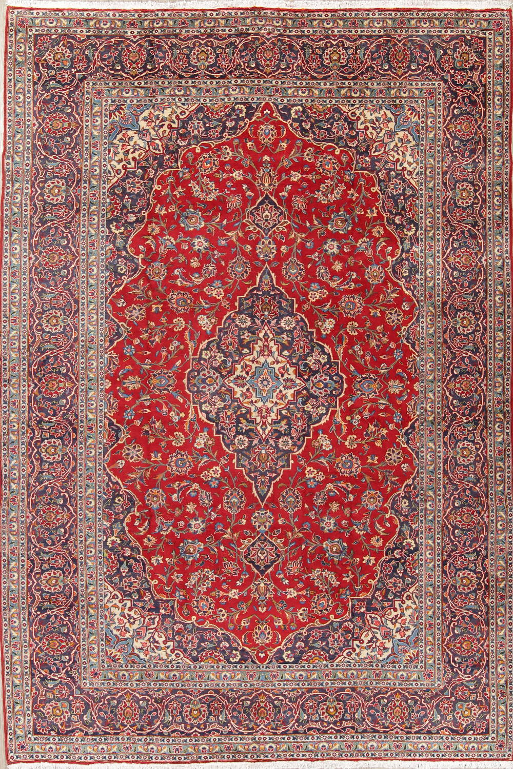 8'6″ x 12'4″ Hand-knotted Semi-Antique Red/Navy Persian Kashan Oriental Rug 12981047