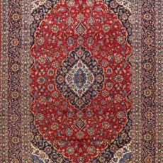 9′3″ x 12′9″ Hand-knotted Vintage Kashan Persian Area Rug 12981049