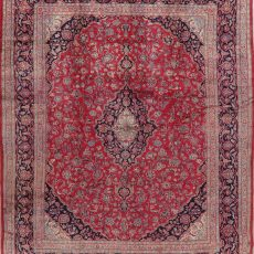 9′7″ x 11′11″ Hand-knotted Vintage Floral Mashad Persian Rug 12981054