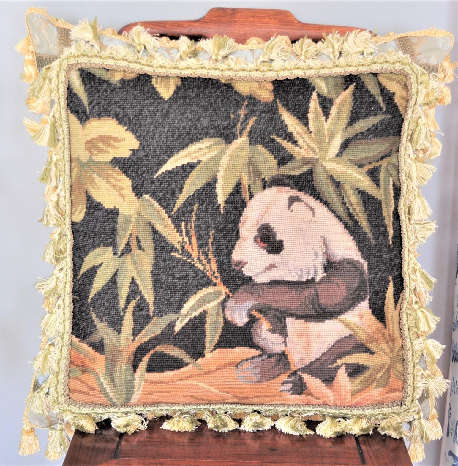 25″x25″ Panda Needlepoint Pillow 12981059