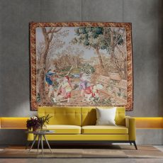 Victorian Wall Art | Hand Crafted Verdure Tapestry | Rustic Vintage Home Decor | Woodland Nature Scene | Large Antique Wall Hanging Tapestry
