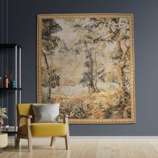 Vintage Aubusson Tapestry | Hand Woven Verdure Tapestry | French Gobelins Weave Renaissance Tapestry | Medieval Wall Hanging Rug 57X64 inch